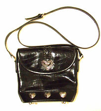 Faux Black Leather Croc Bucket Crossbody Handbag