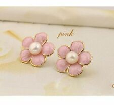 Pink plum flower stud earrings w/ pearl, 60's retro