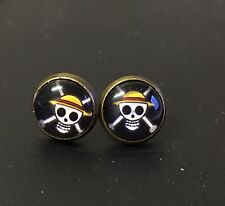 Japan Anime One Piece Straw Hat Skull Pirates Cosplay Kitsch Funky Stud Earrings