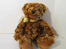2000 Animal Alley Golden Brown Teddy Bear Plush with Yellow Bow 13""