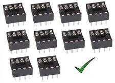 10pz zoccoli 8 pin 4+4 pin per circuiti integrati DIL passo 2,54mm