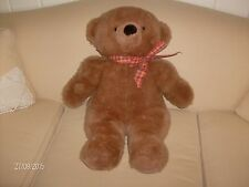 One brown TEDDY BEAR, plaid ribbon, Townsend Vermont, finer stuffed toys.