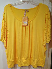 ladies Women's Summer Fall Spring Yellow top tunic blouse knit  plus size 3X $30