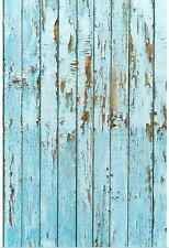 8x8FT Light Blue Shabby Wooden Planks Custom Photo Studio Background Backdrop