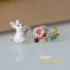 Boucles d`Oreilles Clous Puces Lapin Fleur Perle Email Blanc Rose Jaune Doré L3
