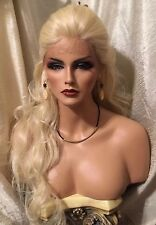 Stunning, Long, Wavy, Platinum Blonde, Lace front Heat Friendly Wig!