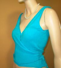 New $155 SEXY WRAP-AROUND SILK Knit Top Sz M Aqua MADE IN SPAIN Blouse Busty