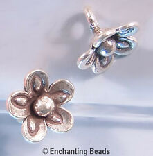 Karen Hill Tribe Silver Pinchedl Flower Drop Beads T439 (3) Droplets Charms 10mm