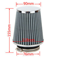 White 3inch 75mm Car Air Filter Clean Intake High Flow Short RAM/COLD Round Cone