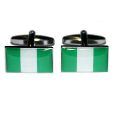 Green & White Nigeria Flag Cufflinks & Gift Pouch Nigerian Country Flags New