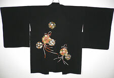 FAB BLACK JAPANESE SOFT SILK HAORI KIMONO EVENING JACKET Hand Painted Embroidery