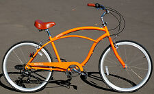 "Aluminum Frame, Fito Marina Alloy 7-speed Men 26"" Urban Beach Cruiser Bike Orang"