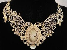 necklace 18k gold p metal lace antique brown cameo vintage victorian style FIOJ