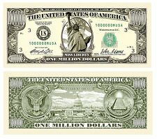 5 Lot Million Dollar Bill Fake Money Novelty Promotional