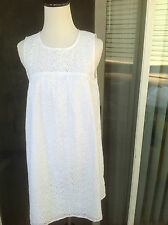 New Anthropologie size S White Cotton Eyelet Embroided Sleeveless Summer Dress