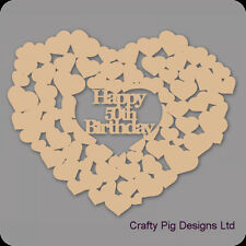 Happy 50th Birthday Heart Of Hearts - 3mm MDF Wooden Craft Blank Guest Book