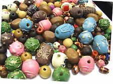 300 pcs+ Wood Natural Printed Color Beads Mix 8 ~ 14mm Hole 2mm New