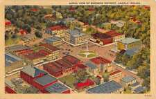 Angola Indiana Business District Aerial View Linen Antique Postcard K23411