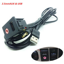 Auto 3.5mm USB AUX Headphone Male Jack Flush Mount Mounting Adapter Panel Input