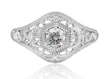Art Deco Style 1/4ct Cubic Zirconia Filigree Ring Sterling Silver Size 7