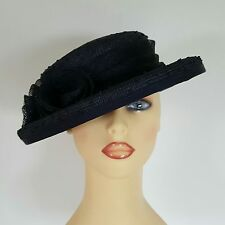 Ladies Wedding Hat Races Mother Bride Ascot Hat Navy Rosettes Anne Hanna Millner