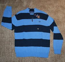 NWT CHAPS half zipper blue stripe pullover HEAVYWEIGHT sweater (L) MSRP $70