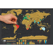 Deluxe Travel Edition Scratch Off World Map Poster Personalized Journal Log IG
