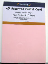 Tindalls A5 Thin Assorted Pastels Card 160gsm 30 sheets