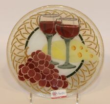 2007 Signed Peggy Karr Fused Glass 8 Inch Round Wine Cheese Grapes Plate in Box