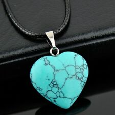 fashion heart-shaped natural stone Turquoise pendant necklace XL514