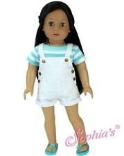 "White Denim Overall Shorts & Aqua Striped Tee Shirt fit 18"" American Girl Doll"