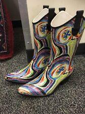 "Corkys ""Rodeo"" Western Cowboy Rubber Rainboots Sz US 10 Purple Multicolor"
