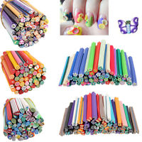 7 Styles 50pcs 3D Nail Art Fimo Canes Stick Rods Polymer Clay Stickers Tips Deco