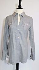 Elizabeth and James Gray Cotton Silk Long Sleeve Button down shirt Size XS