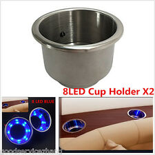 Newly 2X 8LED's Blue Stainless Steel Cup Drink Holder Marine Boat Car Camper