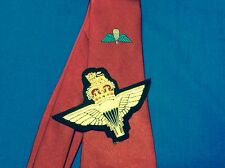 Airborne Forces maroon tie with para wings and Parachute Regiment  badge