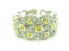 18KT WHITE GOLD GENUINE WHITE DIAMOND PAVE WIDE BAND YELLOW SAPPHIRE RING GIFT