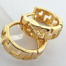FS937 REAL 18K YELLOW G/F GOLD SOLID CLASSIC SMALL SIZE DESIGN HOOP EARRINGS