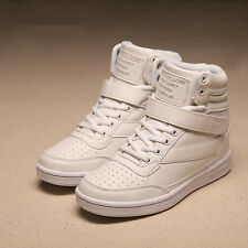 Women High-top Shoes Leather Running Sneakers Trainers Athletic EUR 36 White