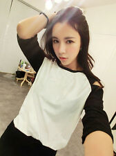 Fashion Korean Sexy Off Shoulder 1/2 Sleeve Top T Shirt Long Blouse Dress Casual