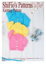 KNITTING PATTERN for BABY V NECK CARDIGAN 3 SIZES  #251 by ShiFio Patterns