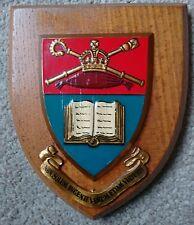 Vintage LIVERPOOL COLLEGE  plaque cir 1950s Plaque Shield Coat of Arms