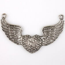 6pcs 145570 Silver Tone Antiqued Fly Wings Heart Charms Alloy Connector Pendants
