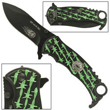 Run Out Of Hell Barb Wire Assisted Folding Safety Locking Emergency Knife- Green