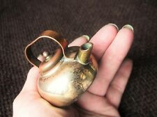 VINTAGE COLLECTABLE BRASS MINIATURE KETTLE WITH COPPER LID & HANDLE SWEET SIZE