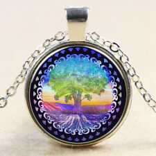 Vintage Tree of Life Cabochon Silver plated Glass Chain Pendant Necklace MS31