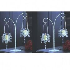 "2 Large Crystal Candelabra Candle Holder Chandelier Wedding Centerpieces 17""Tall"