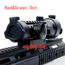 New 2x42 Red Green Dot Tri-Rail Optic Scope Sight Fit 20mm Rail Mount For Rifle