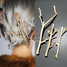 Runway 3x Gold Tree Branch Hair Pin Head Dress Snap Barrette Clip Fascinator