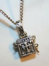 "Squared ""Hatbox"" Swirled Prayer Locket Pendant Necklace  ++++++"